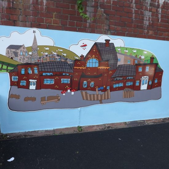 Mural boardsare durable printed boards that I design with the school working directly from childrens obsevational drawings of their school and neighbourhood. They are a brilliant way to brighten up a playground wall or an entrance way whilst creating a lasting lagacy and celebration of the school.